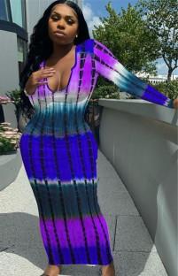 Herbst Tie Dye Sexy langes figurbetontes Kleid mit vollen Ärmeln
