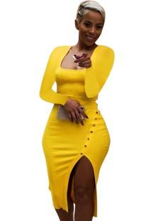 Sonbahar Sarı Ribanalı Kare Yaka Yırtmaçlı Tam Kollu Midi Elbise