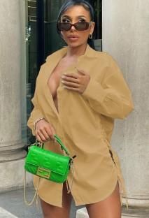 Vestido Blusa Curto Outono Caqui Puff Mangas Laterais com Cordas