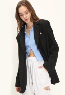 Blazer ample noir à col rabattu avec poches