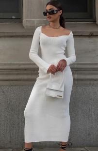 Herbst Elegantes weißes Strickkleid mit quadratischem Ausschnitt und langem, schmalem Kleid mit vollen Ärmeln