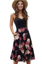 Sommer Elegantes Schwarzes Langes Skaterkleid mit Blumenträgern