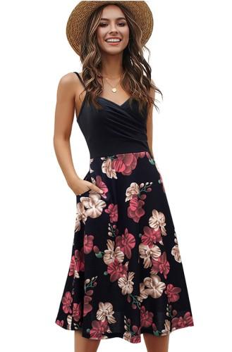 Robe patineuse longue d'été à bretelles florales noires élégantes