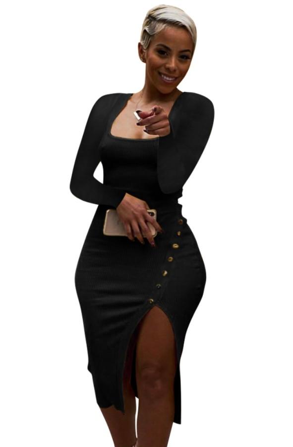 Sonbahar Siyah Ribanalı Kare Yaka Yırtmaçlı Tam Kollu Midi Elbise