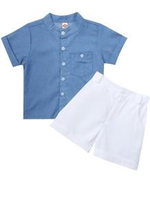 Çocuk Boy Yaz Mavi Kot Bluz Beyaz Şort Takım