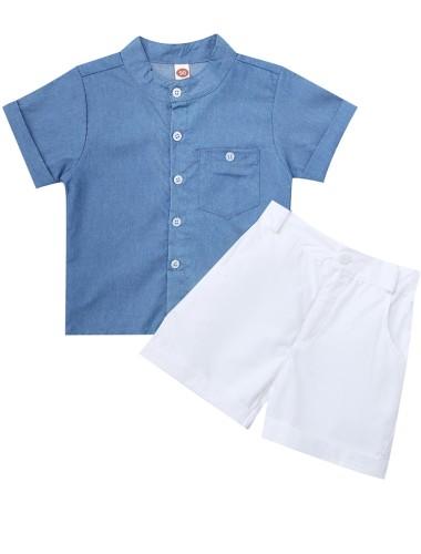 Kids Boy Summer Blue Denim Blouse and White Shorts Set