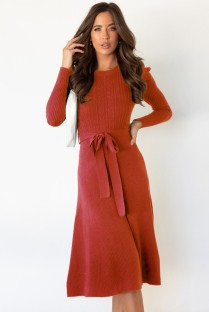 Sonbahar Kırmızı Triko Zarif Kemerli Uzun Patenci Elbisesi