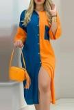 Tam Kollu Sonbahar Günlük Renk Bloklu Diz Altı Bluz Elbise