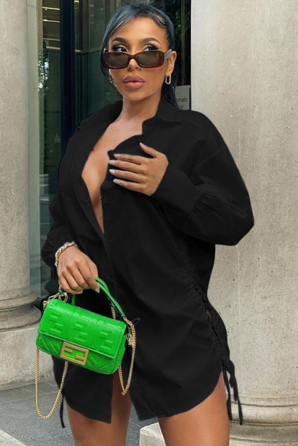 Sonbahar Siyah Puf Kollu Yandan İpli Kısa Bluz Elbise