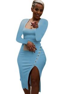 Tam Kollu Sonbahar Mavi Ribanalı Kare Yaka Yırtmaçlı Midi Elbise