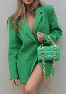 Blazer ample vert automne à col rabattu avec poches