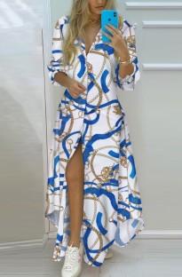 Tam Kollu Sonbahar Günlük Baskı Uzun Bluz Elbise