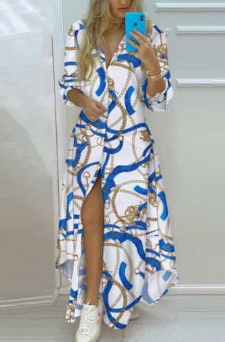 フルスリーブの秋のカジュアルプリントロングブラウスドレス
