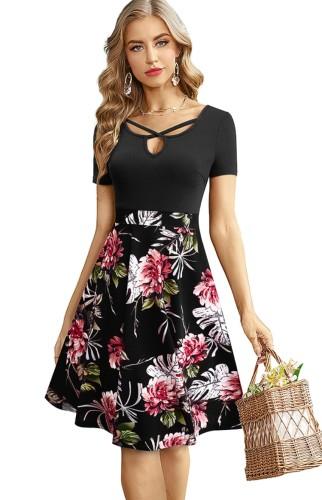 Robe patineuse longue à manches courtes à fleurs noires vintage d'été
