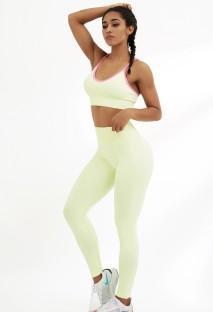 Yaz Sarısı Yoga Askılı Sütyen ve Yüksek Bel Tayt Takım