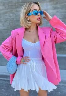 Blazer ample rose à col rabattu avec poches