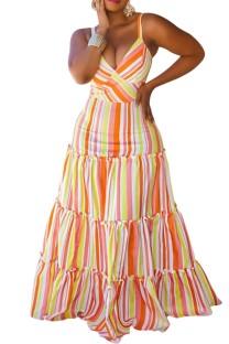 Sommer Plus Size Stripes Strap V-Ausschnitt Langes Kleid