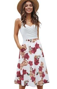 Sommer Elegantes weißes Blumenträger-langes Skaterkleid