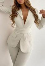 Blazer OL a maniche lunghe beige elegante autunno con cintura
