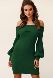 Otoño elegante vestido de punto verde con hombros descubiertos y manga abullonada
