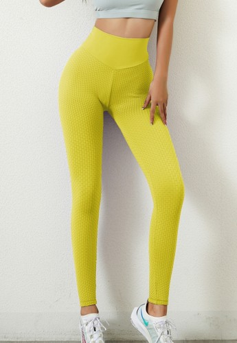 Legging de entrenamiento de cintura alta amarillo de verano