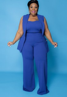 Conjunto Outono Plus Size Professional Blue Crop com Blazer sem Mangas e Calças com 3 unidades