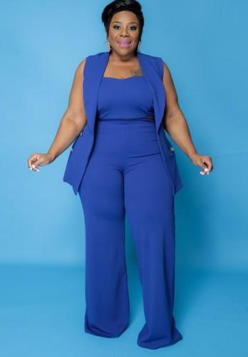 Automne Plus Taille Professionnelle Crop Top Bleu avec Blazer Sans Manches et Pantalon 3 pcs Ensemble