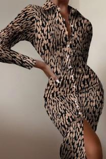 Vestido formal de outono com blusa midi estampado com mangas compridas
