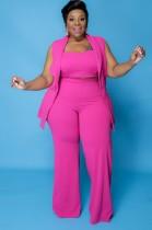 Herbst Plus Size Professionelles Rosa Crop Top mit ärmellosem Blazer und Hose 3er Set