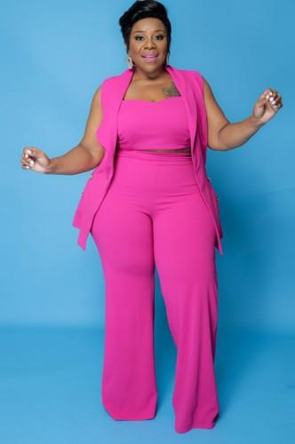 Automne Plus Taille Professionnelle Crop Top Rose avec Blazer Sans Manches et Pantalon 3 pcs Ensemble