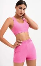 Summer Pink Gym Crop Top Vest and Shorts Set