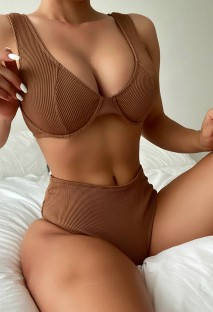Summer Sexy Brown Rib High Waist Two Piece Swimsuit