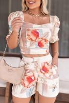 Top corto estivo con maniche a sbuffo con scollo quadrato stampato floreale sexy e set di pantaloncini abbinati