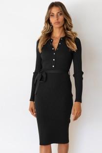 Otoño elegante vestido a media pierna de punto negro de manga larga con botones y cinturón