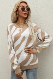 Suéter de manga larga con cuello redondo y rayas de color caqui casual de invierno