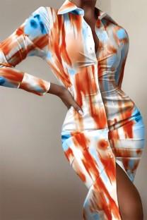 Vestido formal com blusa midi tie dye outono com mangas compridas