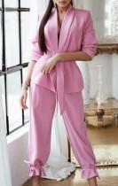 Herfst Casual roze blazer en broekset