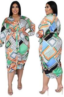 Vestido Blusa Irregular de Manga Longa Estampado Retro Outono Plus Size com Blet