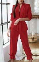 Autumn Casual Red blazer and Trouser Set