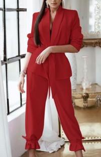 Conjunto de blazer e calça vermelho casual outono