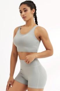 Летний серый укороченный топ и шорты для спортзала