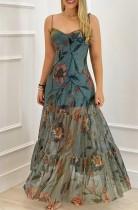 シースルー裾のサマーフローラルストラップAラインマキシドレス