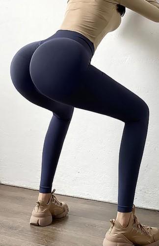 Leggings Scrunch de cintura alta azul marino de yoga de verano