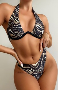Summer Sexy Stripes Printed Halter Two Piece Swimsuit