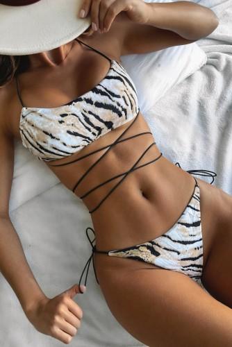 Sommer Sexy Tigerskin Prined Lace Up Zweiteiler Badeanzug