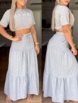 サマートレンディグレー半袖クロップTシャツとAラインマキシスカートセット