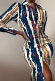 Осеннее вечернее платье-блузка миди с принтом и длинными рукавами