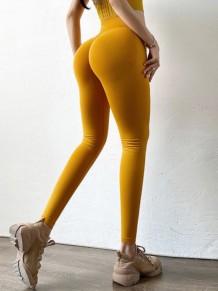 Yaz Yogası Sarı Yüksek Bel Ezme Tayt