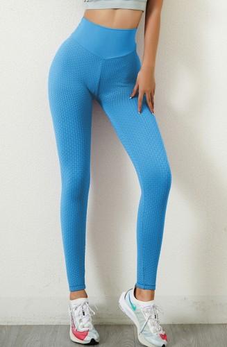 Legging de entrenamiento de cintura alta azul de verano