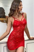Lingerie sexy per bambole con cinturini in pizzo rosso